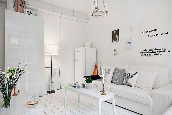 Piso pequeño de estilo escandinavo   decorar hogar