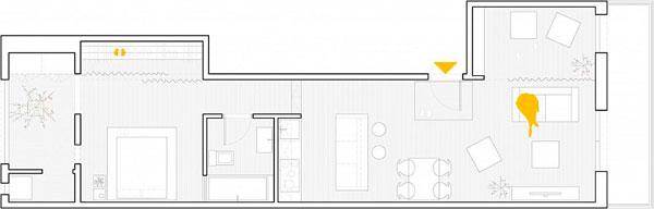 Plano de planta del piso restaurado en Barcelona