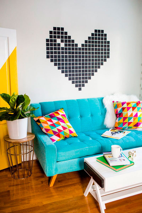 Decorar la pared con un mosaico de cinta washi