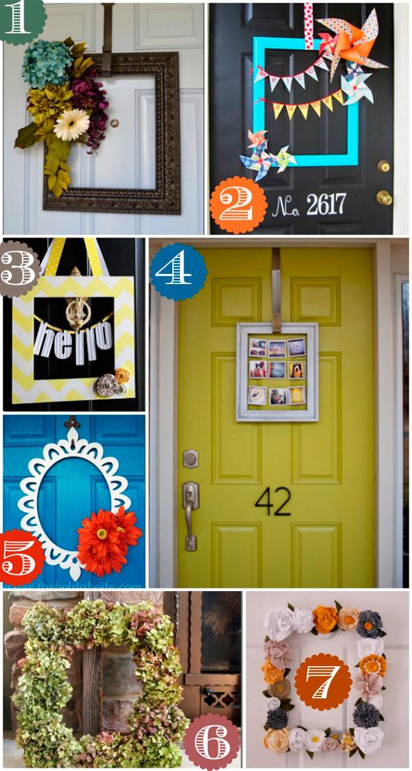 Decoración de puertas con marcos de fotos