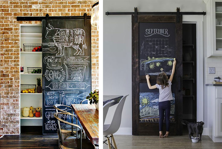 Decorar puertas de cocina con pintura de pizarra