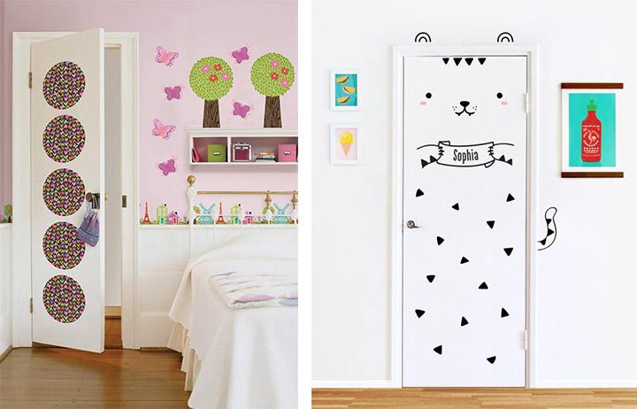 Decorar puertas dormitorio con vinilos infantiles
