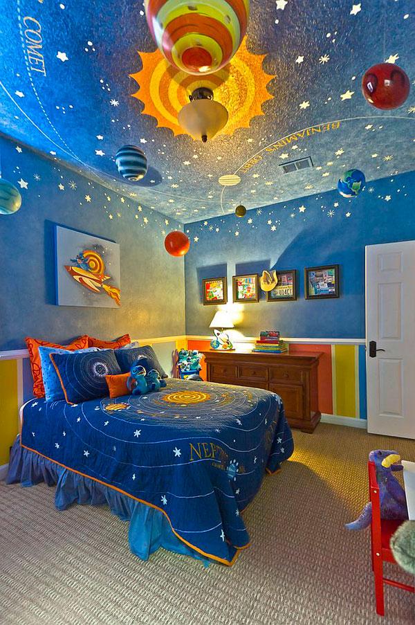 Dormitorio inspirado en el espacio y las estrellas