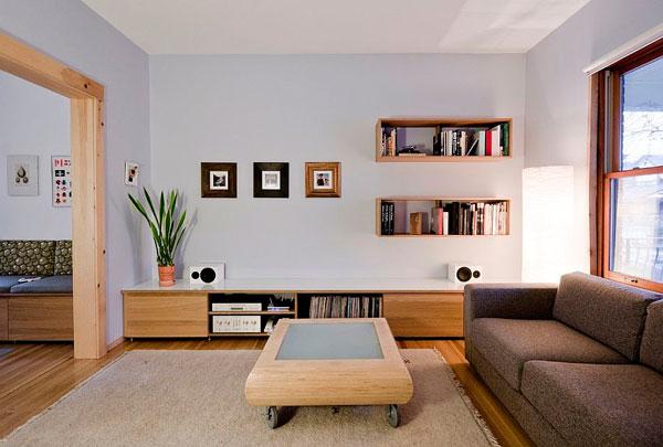Mesa de centro con ruedas minimalista de madera