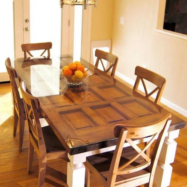 Ideas para reciclar puertas de madera ejemplos - How to make a dining room table bench ...