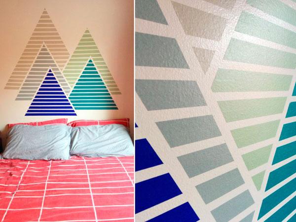 Decorar la pared con pirámides hechas con cinta washi