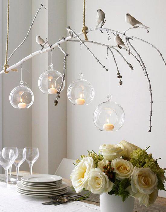 Pajaritos en ramas para decorar una boda
