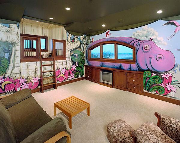 Habitación infantil decorada como un safari