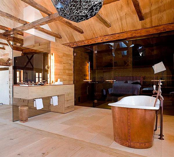 Baño de diseño contemporaneo rústico