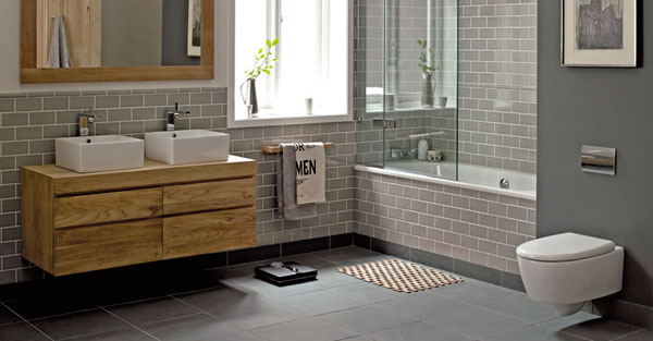Baño Diseno Modernos:Gray Tile Bathroom with Wood