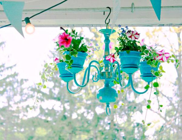 Plantas en lámparas de araña