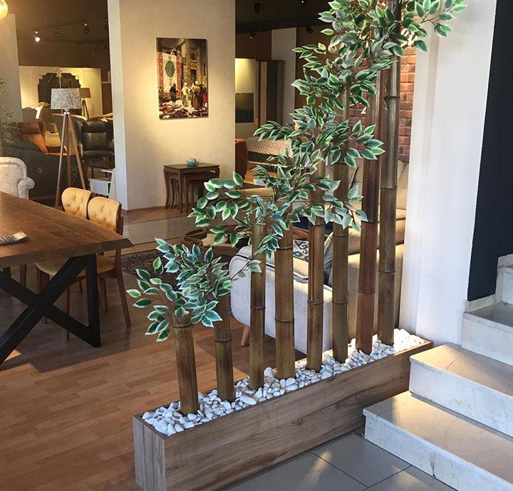Cañas de bambú para separar espacios en decoración