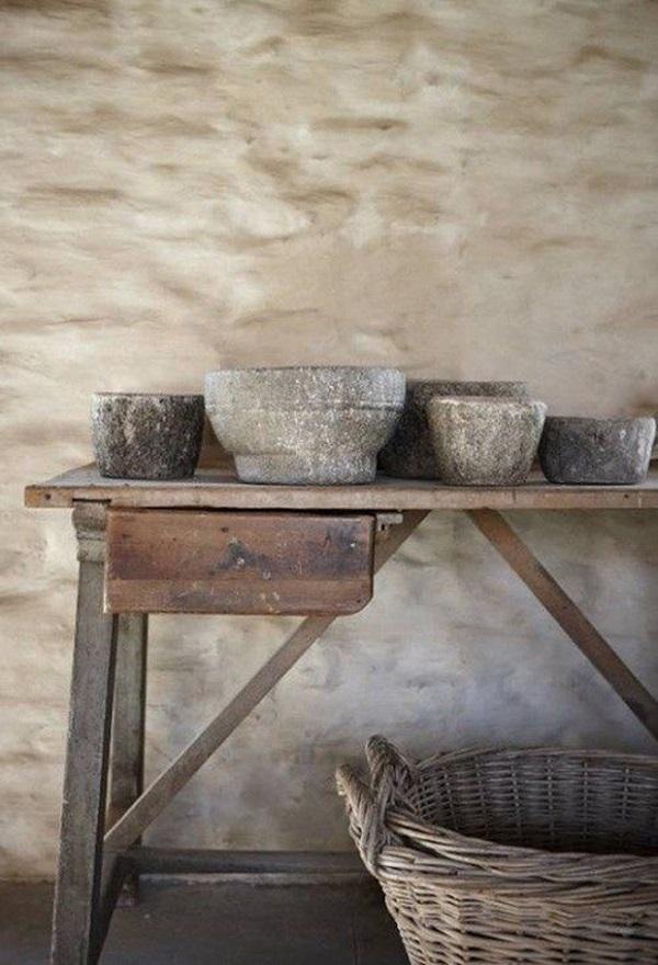 Objetos de decoración Wabi Sabi de pueblo