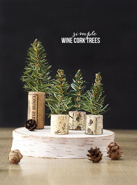Hacer árboles de navidad con corchos de vino y cava