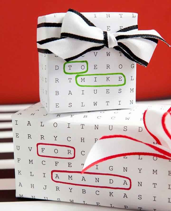 Papel de regalo sopa de letras