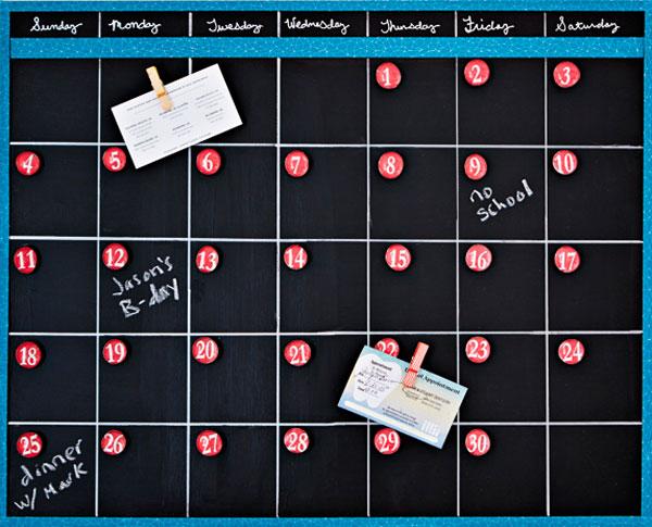 Calendario magnético de pizarra negra