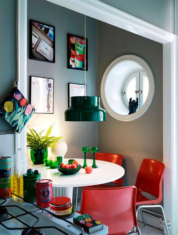 Color verde vintage en lámpara antigua