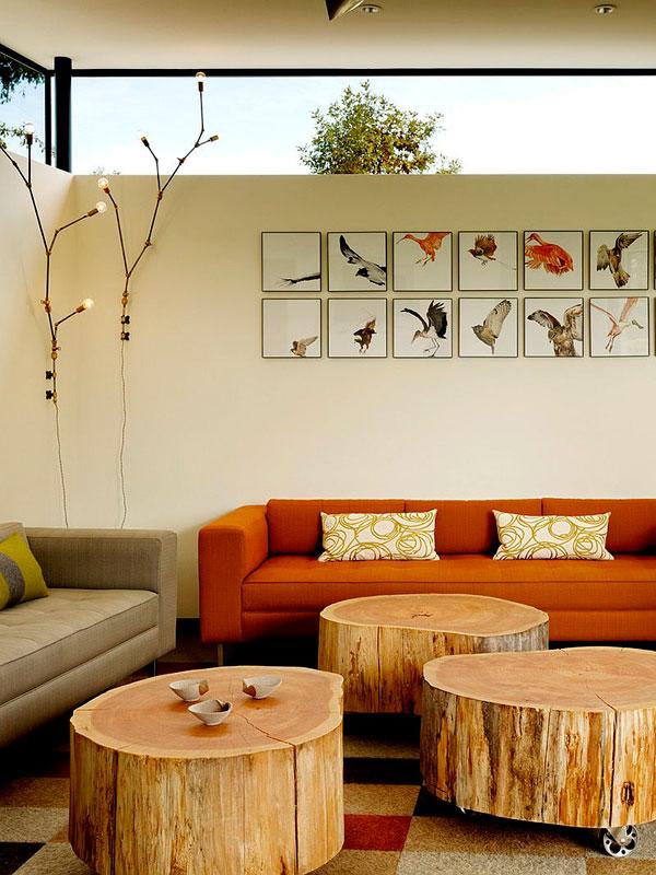 Troncos como mesas para decorar salones en 2016
