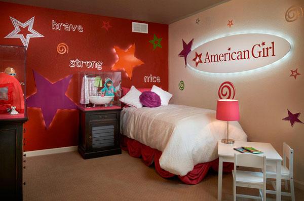 Habitación infantil para niños roja
