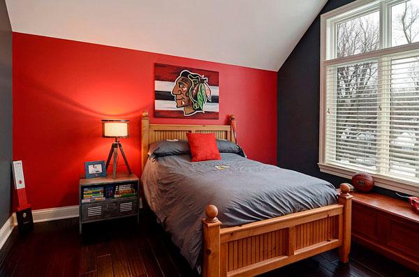 Pintar habitaciones infantiles en rojo y gris