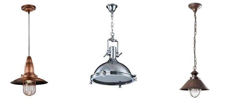 Lámparas colgantes estilo industrial náuticas