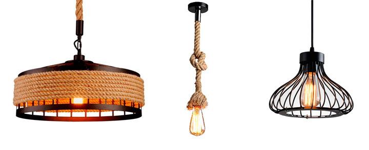 Lámparas de techo industriales estilo granja