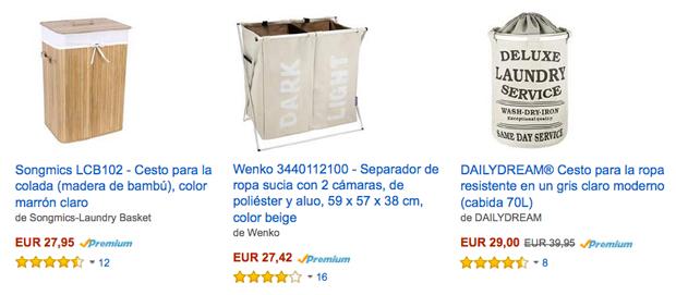 Comprar cestos de ropa sucia en Amazon