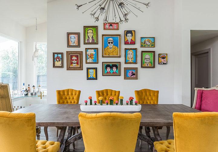 Comedor ecléctico moderno color amarillo