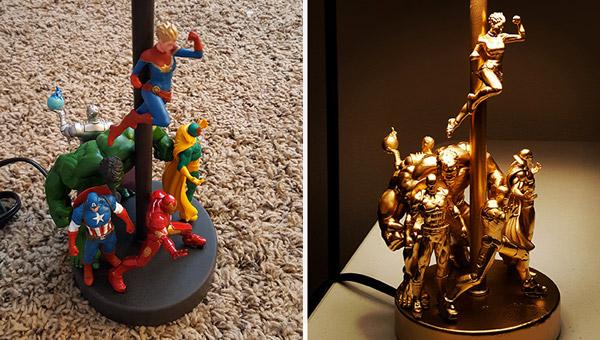 Paso a paso hacer una lámpara de superhéroes con muñecos