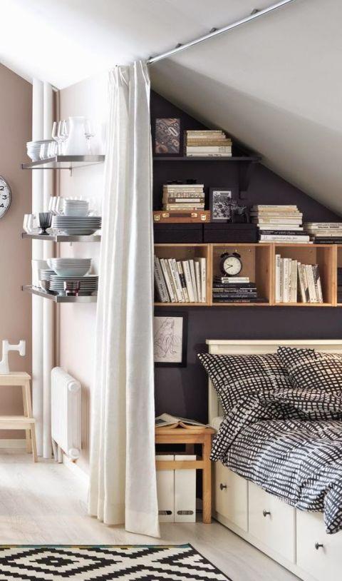dormitorio de invitados en buhardilla