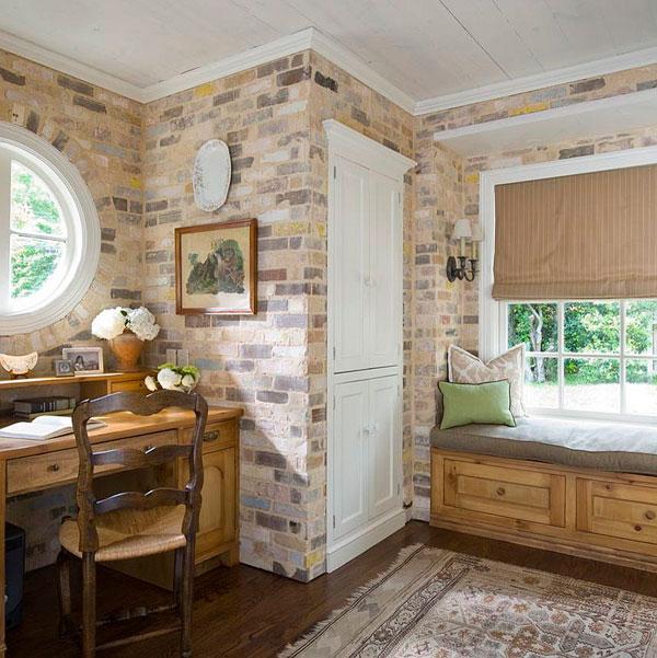 Ideas de despachos en casa decorados con pared de ladrillo