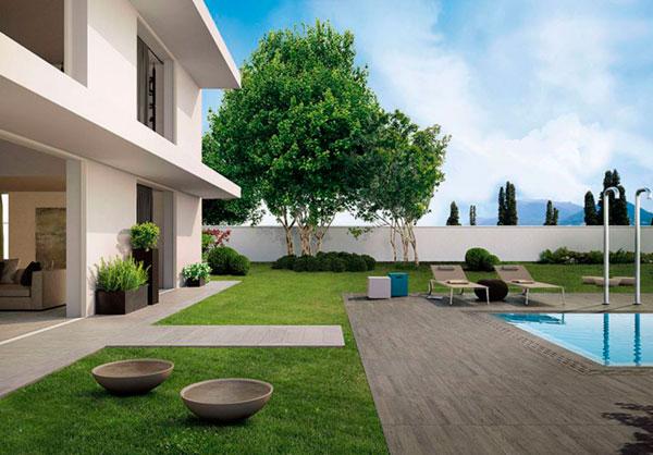 Efecto madera en suelos de piscinas con azulejos de gres porcelánico