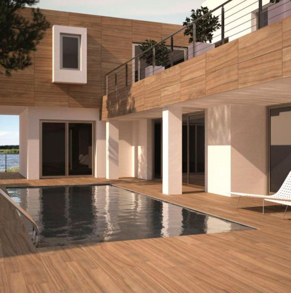 Suelos de piscinas con gres porcelánico imitación madera