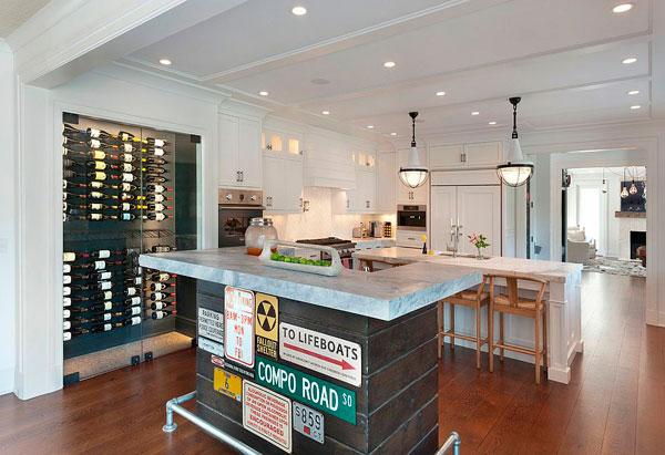 Señales de tráfico en una cocina estilo industrial minimalista