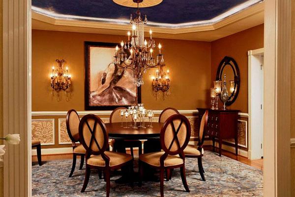Comedores estilo victoriano decorados en colores dorados