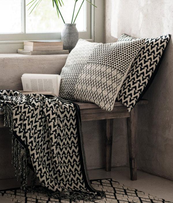 Patrones en Textiles blanco y negro