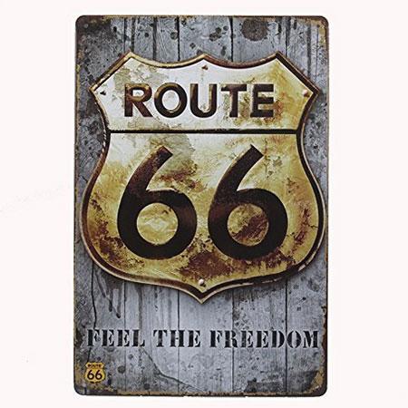 Chapa metálica antigua Route 66