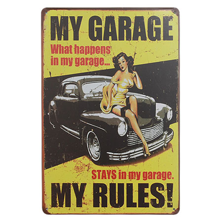 Chapa retro My Garage My Rules