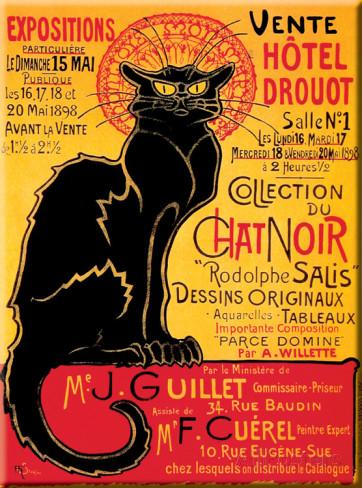 Cartel antiguo Le Chat Noir Drouot Montmartre