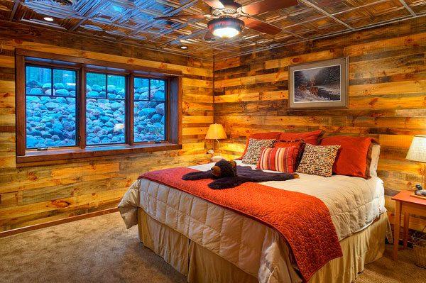 Dormitorio revestimiento interior de madera