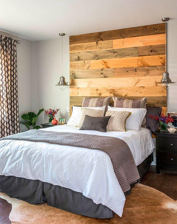 20 dormitorios con pared de madera reciclada me encantan - Apliques de pared originales ...