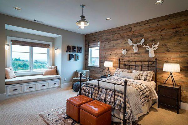 20 dormitorios con pared de madera reciclada me encantan. Black Bedroom Furniture Sets. Home Design Ideas