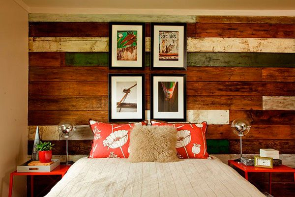 Paredes interiores de madera reciclada