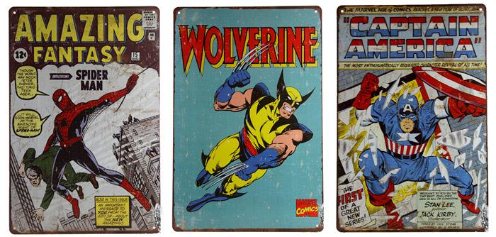Plachas de Chapa retro de Superheroes