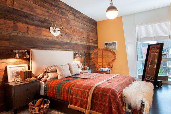 20 dormitorios con pared de madera reciclada me encantan Revestimiento para paredes dormitorios