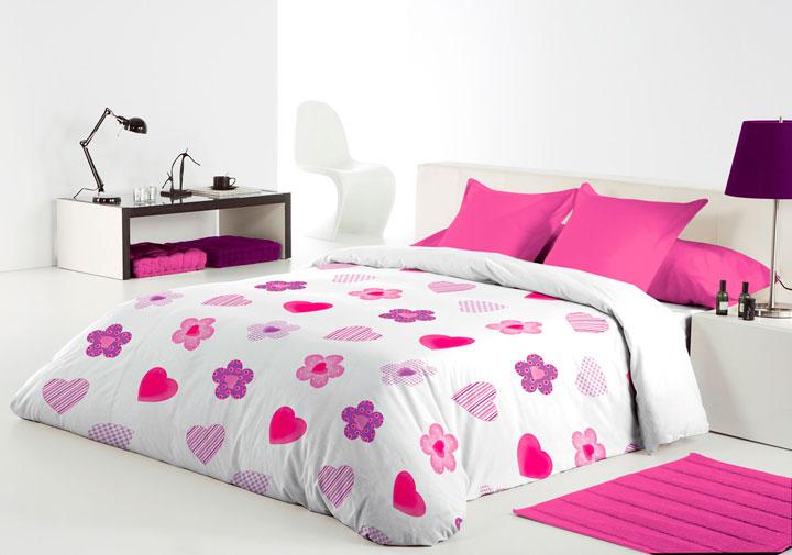 Funda nórdica con estampados rosas