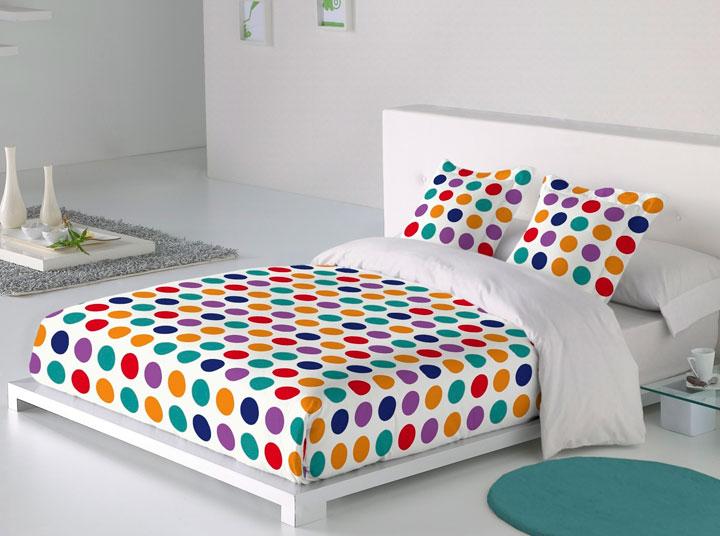 Ropa de cama a topos de colores