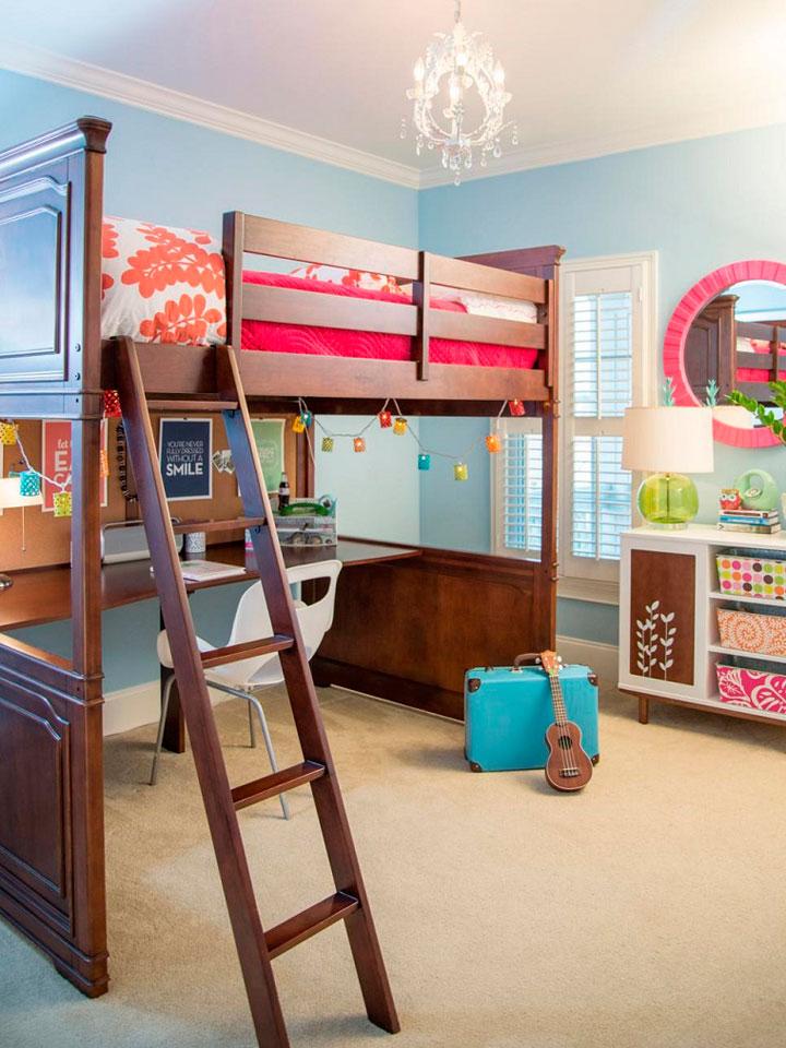 Dormitorio juvenil con espacio para almacenar