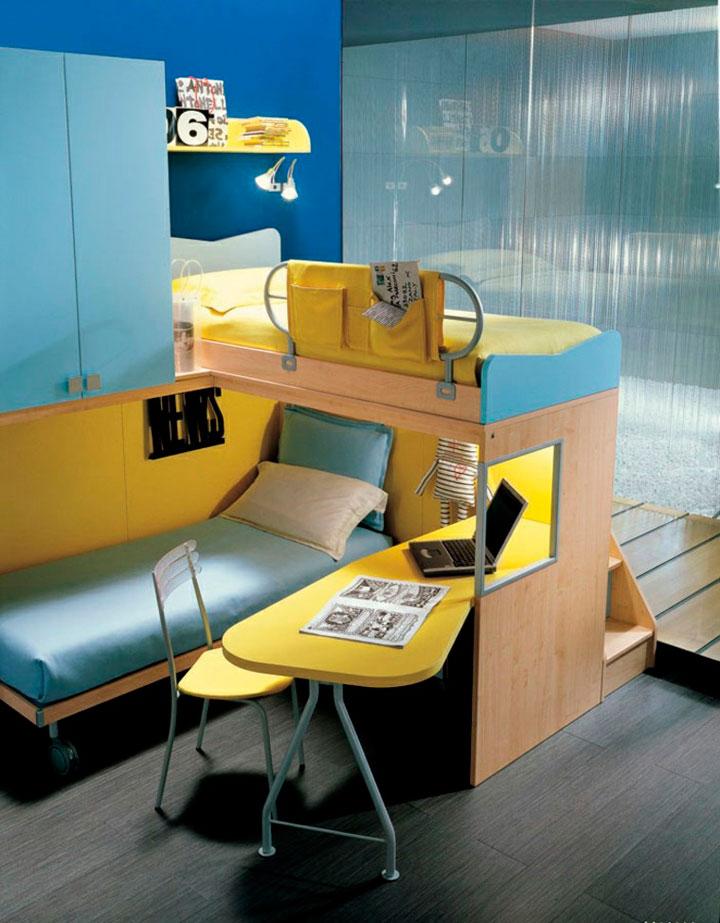 Dormitorios juveniles con literas y espacios de almacenaje