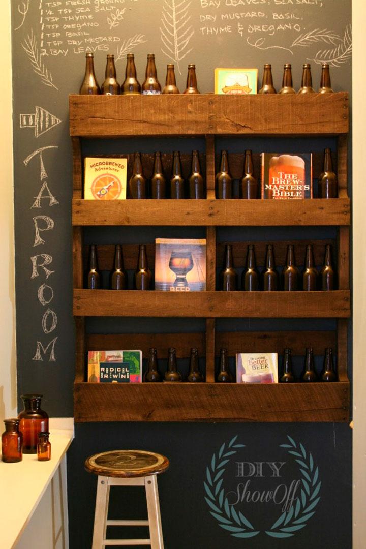 Estante de palets botellero vintage